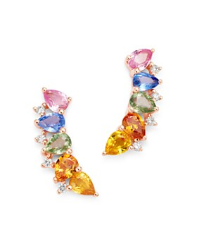 Bloomingdale's - Rainbow Sapphire & Diamond Climber Earrings in 14K Rose Gold - 100% Exclusive