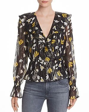 Joie Tops KARMEL SILK BLEND FLORAL METALLIC WRAP TOP