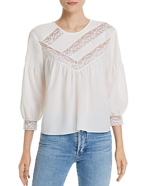 Joie Tops MARGETTE LACE-INSET BLOUSE