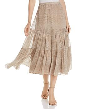 Joie - Pealle Silk Tiered Snakeskin-Print Midi Skirt