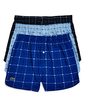 Lacoste - Windowpane Logo-Print Boxers - Pack of 3