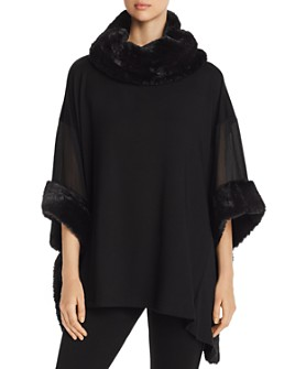 Capote - Sheer-Sleeve Faux-Fur-Trimmed Poncho Top