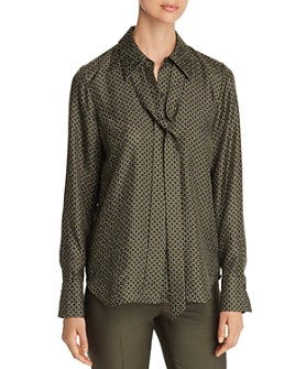 Lafayette 148 New York - Diana Tie-Neck Printed  Silk Blouse