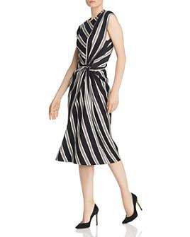 Narciso Rodriguez - Striped Twist-Detail Wool-Blend Dress