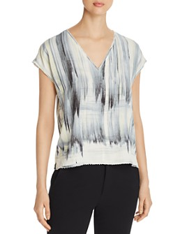 Go by Go Silk - Raw-Edge Printed V-Neck Tee