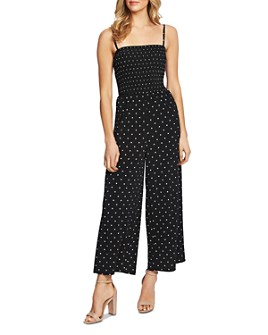 CeCe - Smocked Dot-Print Jumpsuit