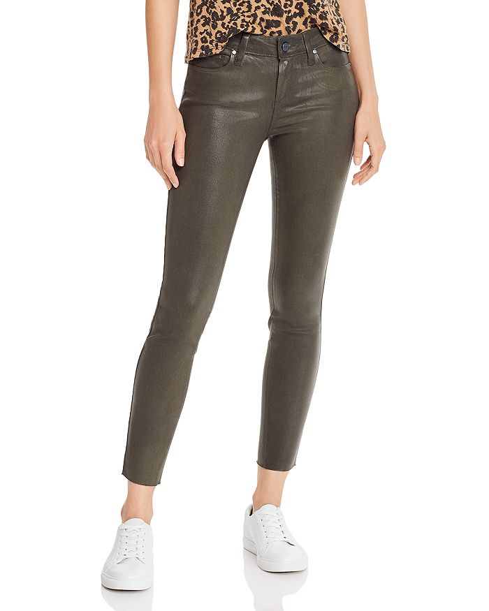PAIGE - Verdugo Coated Skinny Jeans in Chive Luxe Coating