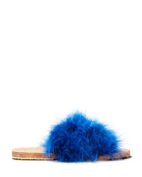 Brother Vellies - Women's Lamu Marabou Feather Slide Sandals