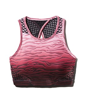 Wear It To Heart - Mesh-Back Ombré Zebra Print Sports Bra