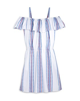 AQUA - Girls' Cold-Shoulder Striped Dress, Big Kid - 100% Exclusive