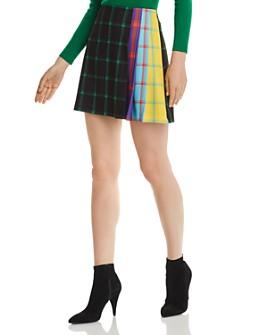Alice and Olivia - Semira Pleated Check Mini Skirt