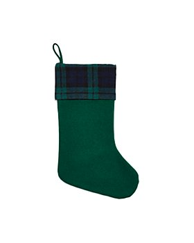Bloomingdale's - Plaid Cuff Green Stocking - 100% Exclusive