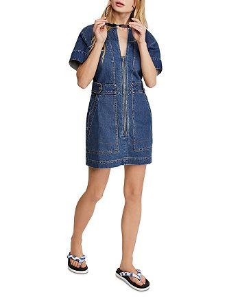 Free People - Dream On Denim Mini Dress