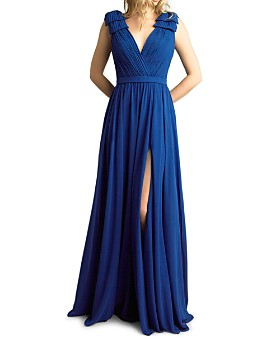 Basix - Pleated Deep-V Gown