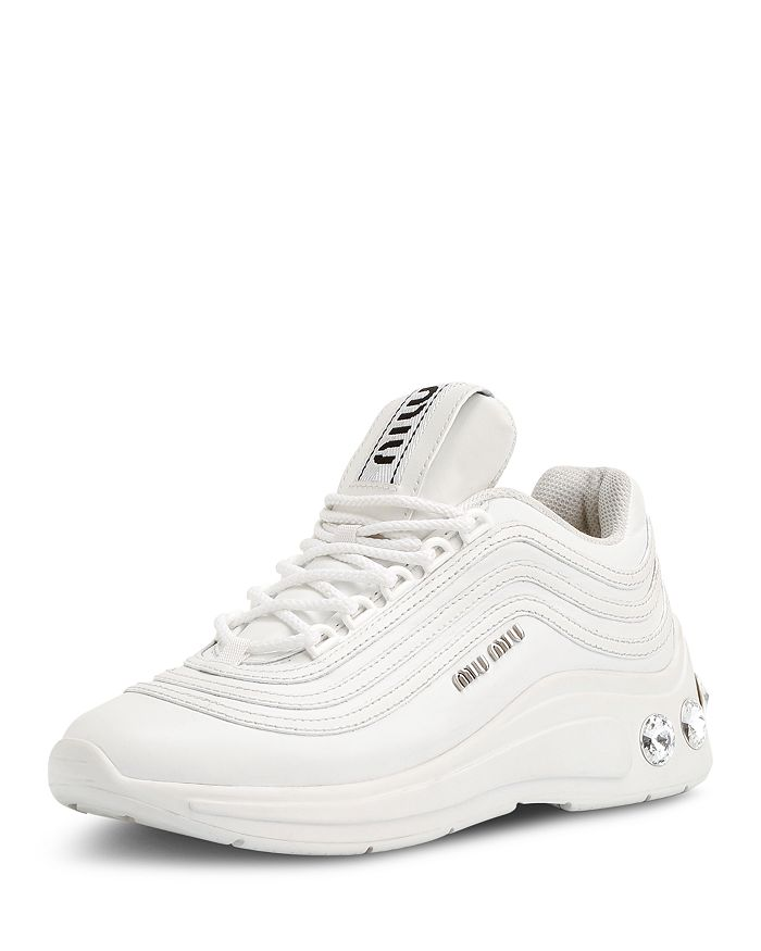 catch new cheap look out for Miu Miu Women's Crystal-Embellished Chunky Sneakers | Bloomingdale's