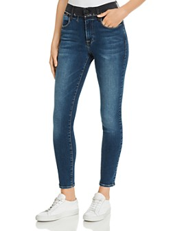 FRAME - Le High Skinny Color-Block Frayed-Waist Jeans in Jentri Lane - 100% Exclusive