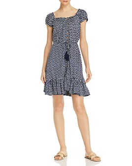 Tiare Hawaii - Riviera Printed Button-Front Mini Dress