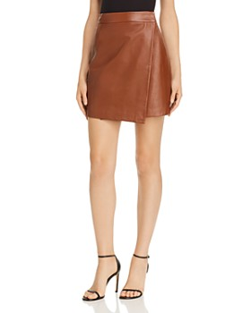 FRENCH CONNECTION - Abri Asymmetric Leather Wrap Skirt