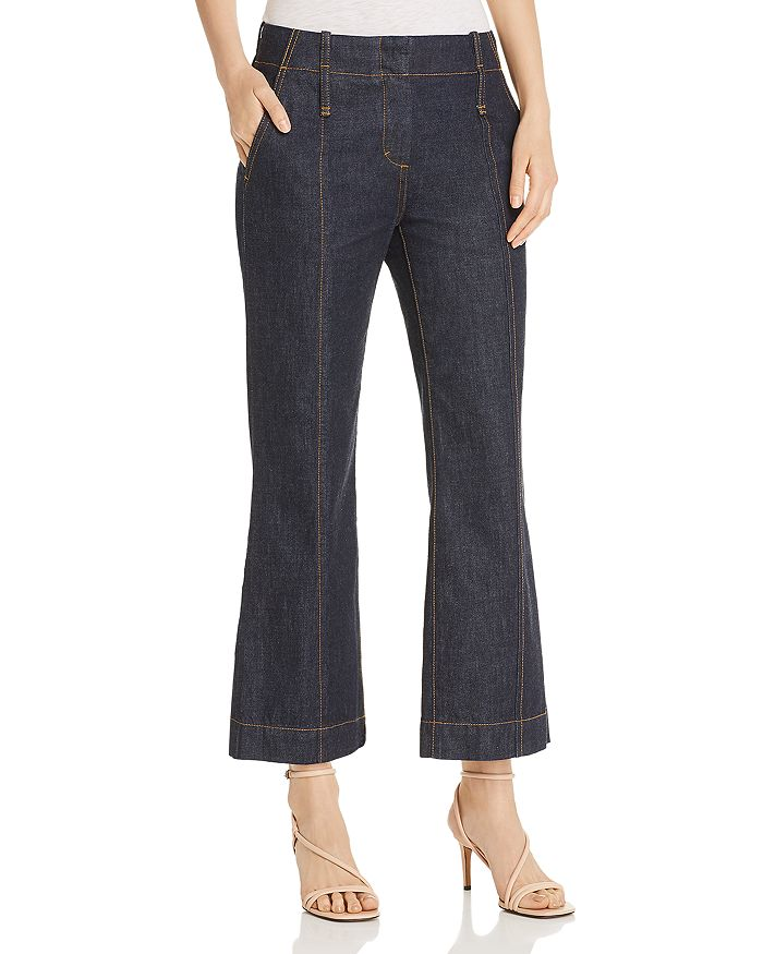Tory Burch - Cropped Flare Jeans in Resin Rinse