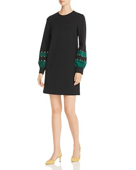 Tory Burch - Embellished Color-Block Ponte Shift Dress