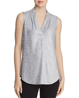 Calvin Klein - Sleeveless Pleat-Neck Blouse