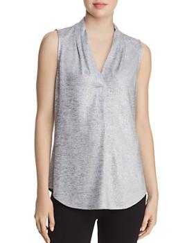 Calvin Klein - Sleeveless Pleat-Neck Blouse