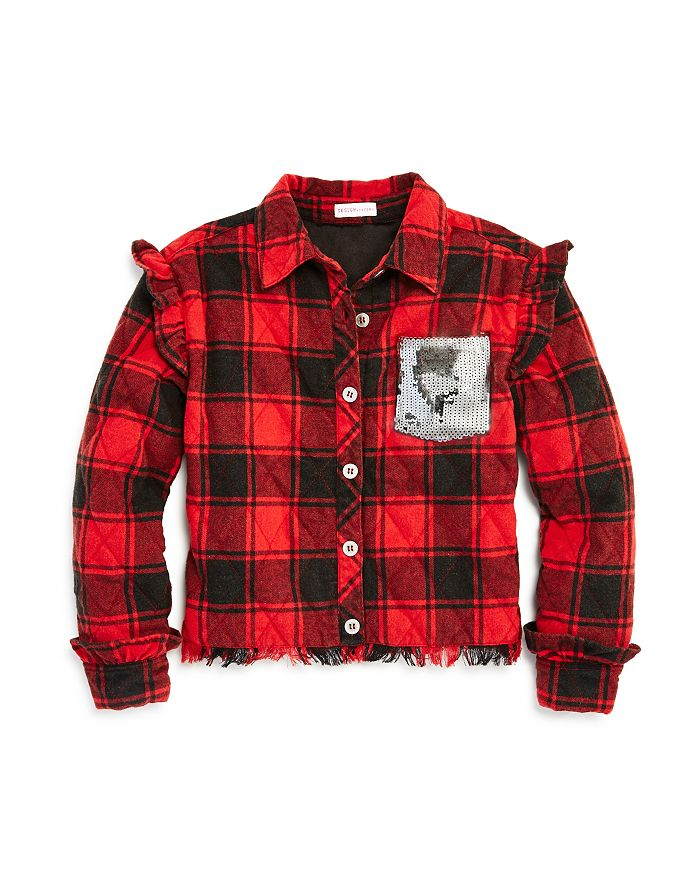 Design History - Girls' Plaid Quilted Jacket - Big Kid