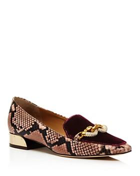 Tory Burch - Women's Jessa Velvet & Snake-Print Loafers