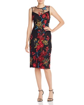 Adrianna Papell - Illusion Neck Floral-Embroidered Sheath Dress