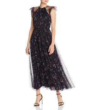 Jill Jill Stuart - Flocked Tulle Floral Gown