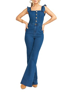 Show Me Your MuMu - Rhea Ruffled Denim Jumpsuit