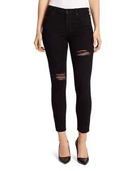Ella Moss - Destructed High Rise Skinny Ankle Jeans in Noir