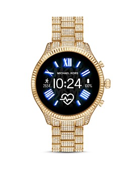 Michael Kors - Lexington 2 Gold-Tone Pavé Link Bracelet Touchscreen Smartwatch, 44mm
