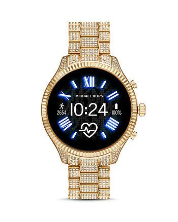 Michael Kors - Lexington 2 Gold-Tone Pavé Link Bracelet Touchscreen Smartwatch, 44mm