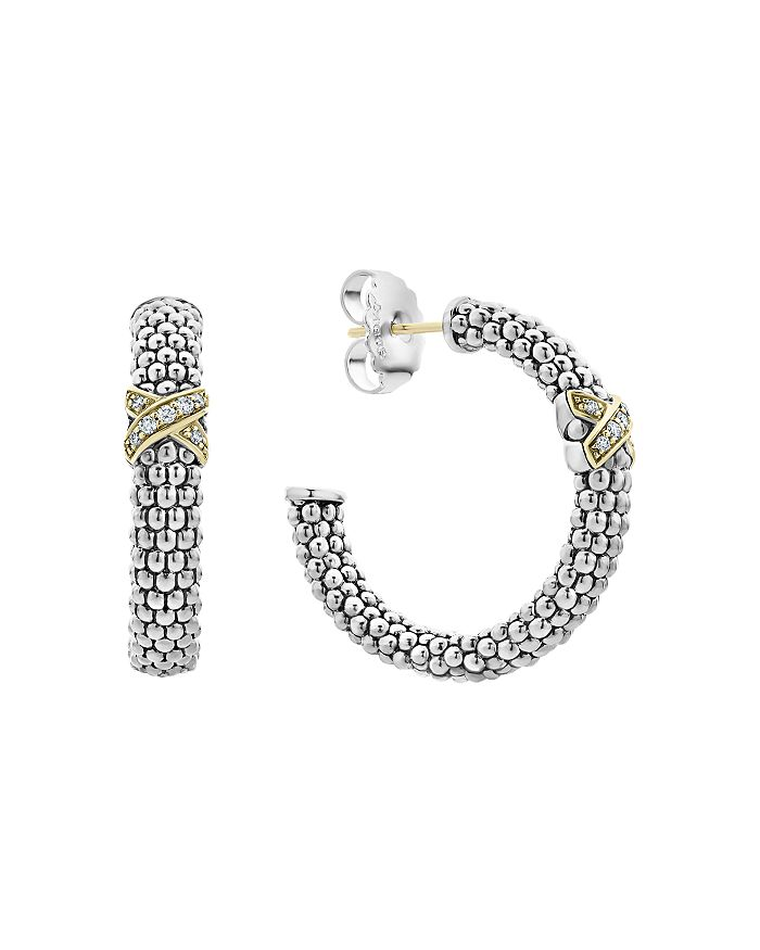 LAGOS - Sterling Silver & 18K Yellow Gold Caviar Lux Diamond Hoop Earrings