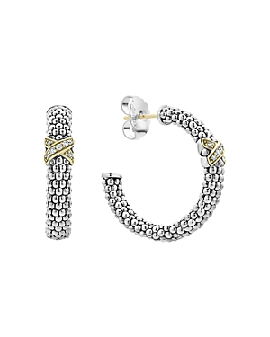 Lagos Sterling Silver & 18K Yellow Gold Caviar Lux Diamond Hoop Earrings