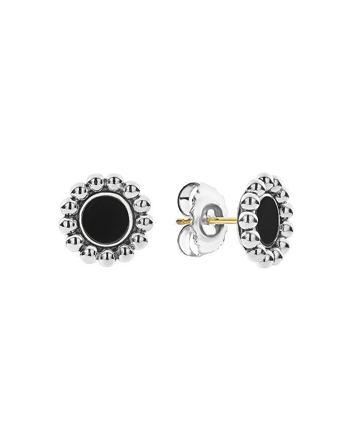 Sterling Silver 14k Yellow Gold Maya Black Onyx Stud Earrings