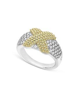LAGOS - Sterling Silver & 18K Yellow Gold Caviar Lux Pavé Diamond Ring