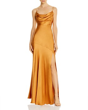 Fame and Partners - Maya Cowl Neck Satin Gown