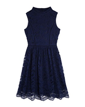 US Angels - Girls' Mock-Neck Lace Dress - Big Kid