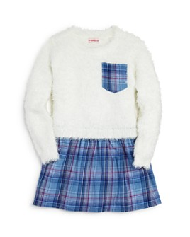 Design History - Girls' Mixed-Media Plaid Dress - Little Kid