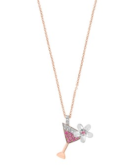 """Bloomingdale's - Pink Sapphire & Diamond Martini Necklace in 14K Rose & White Gold, 18"""" - 100% Exclusive"""