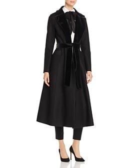 HARRIS WHARF - Velvet-Trim Wool Coat