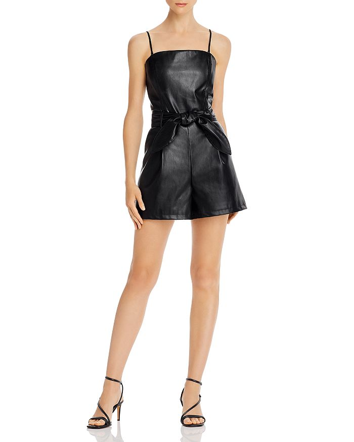 Lucy Paris - Belted Faux Leather Romper - 100% Exclusive
