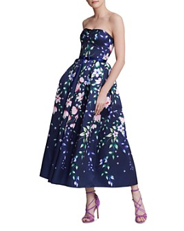 MARCHESA NOTTE - Strapless Floral-Print Gown