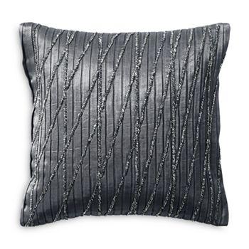 "Donna Karan - Current Pleated & Beaded Decorative Pillow, 12"" x 12"""