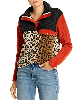 Donni - Color-Blocked & Patterned Fleece Pullover