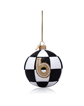 Landmark Creations - Glittered Black and White Checked Ball Ornament - 100% Exclusive