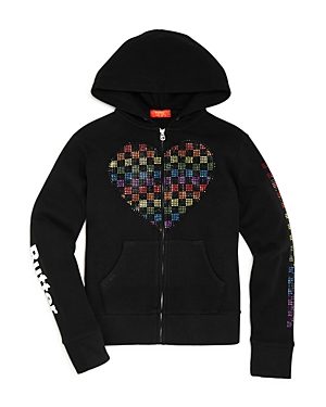 Butter Girls' Rhinestone Heart Hoodie - Big Kid