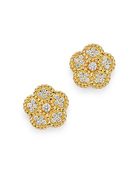 Roberto Coin - 18K Yellow Gold Daisy Diamond Stud Earrings - 100% Exclusive